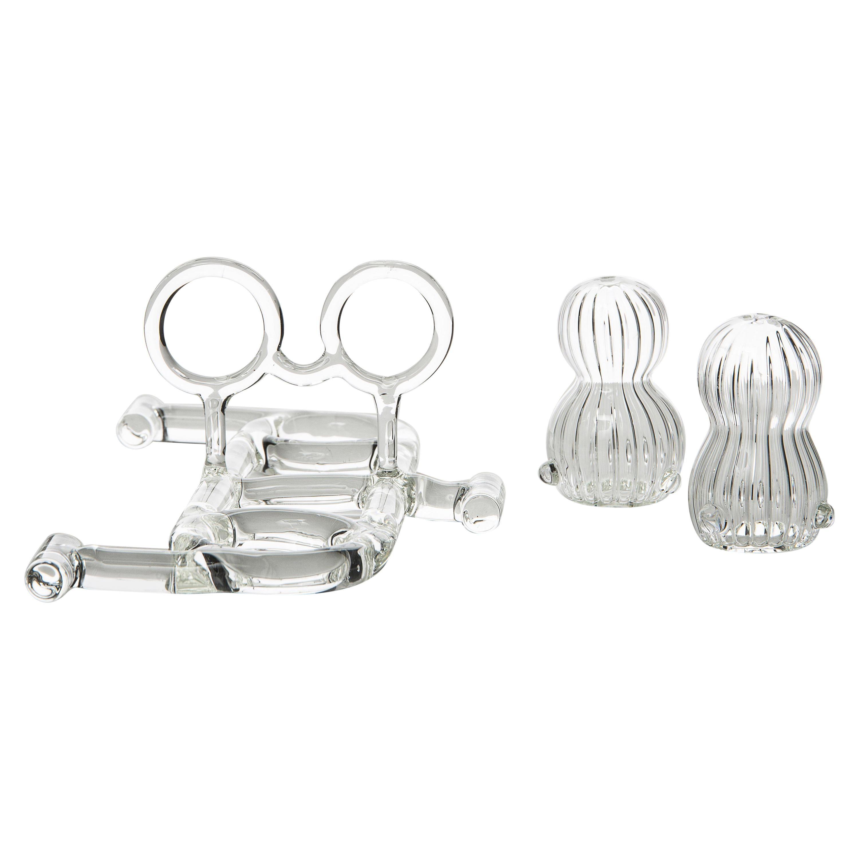 Contemporary Salt and Pepper Shaker Tableware Kitchen Set Glass Handmade