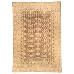 Contemporary Samarkand Beige and Brown Hand Knotted Wool Rug
