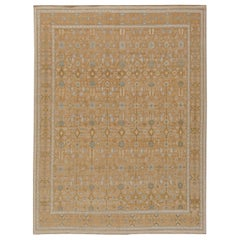 Contemporary Samarkand Brown and Light Blue Hand Knotted Wool Rug
