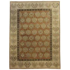 Contemporary Samarkand Khotan Brown and Beige Hand Knotted Wool Rug