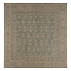 Contemporary Samarkand Pastel Blue and Cream Handwoven Wool Rug