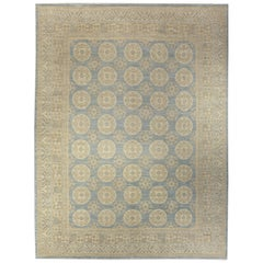 Contemporary Samarkand Style Handmade Wool Rug in Blue and Light Brown