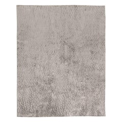Contemporary Sand Dunes Gray Handmade Silk Rug