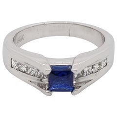 Contemporary Sapphire and Diamond 14 Karat White Gold Ring