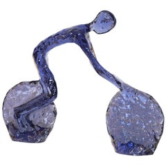 Contemporary Sapphire Cobalt Blue Lucite Sculpture of Modern Minimalist Cyclist