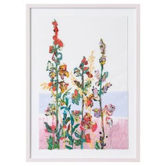 Contemporary Sarah Becker Botanical Wall Embroidery In Wood Frame, Denmark 2021