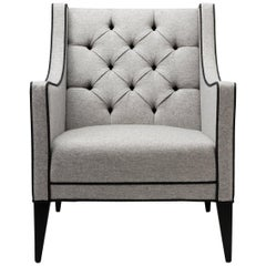 Contemporary Sartor Chair in Wool with Contrast Piping with Walnut or Oak Legs