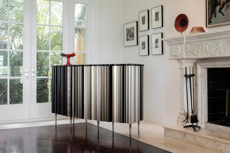 Hand-Crafted Contemporary Satin Silver and Darkened Wood Moldings Credenza by Luis Pons For Sale