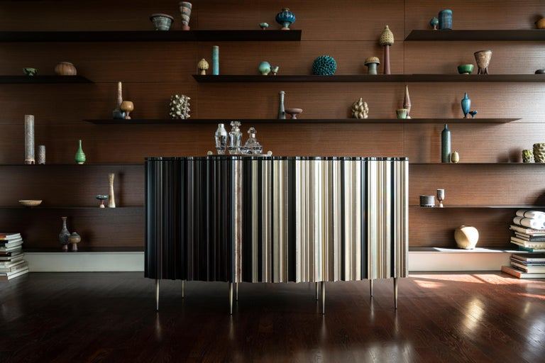 Metal Contemporary Satin Silver and Darkened Wood Moldings Credenza by Luis Pons For Sale