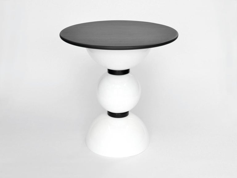 Contemporary side table designed and made by independent product and furniture designer Connor Holland.  The Saturn Table is part of the Saturn Six range, a series of designs inspired by space exploration and the Saturn V rocket. The rounded shapes