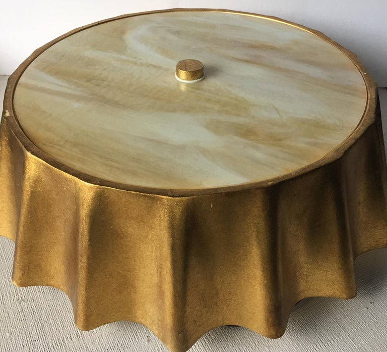 Contemporary Scalloped Gold Leaf Flush Mount Light Fixture In Good Condition For Sale In Lambertville, NJ