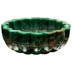 Contemporary Scalloped Green Aventurine Bowl