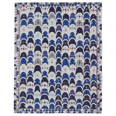 Contemporary Scandinavian Design Flat-Weave Rug in Blue, Charcoal, Red