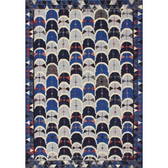Contemporary Scandinavian Design Flat Weave Rug in Blue, Charcoal, Red