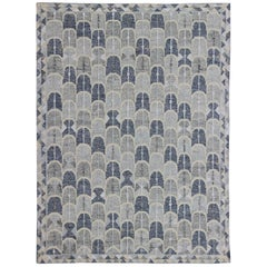 Contemporary Scandinavian Design Flat-Weave Rug in Blue, Cream and Grays