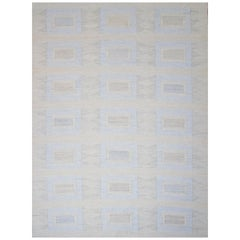 Contemporary Scandinavian Rug with Field of Squares in Blue and Brown Design