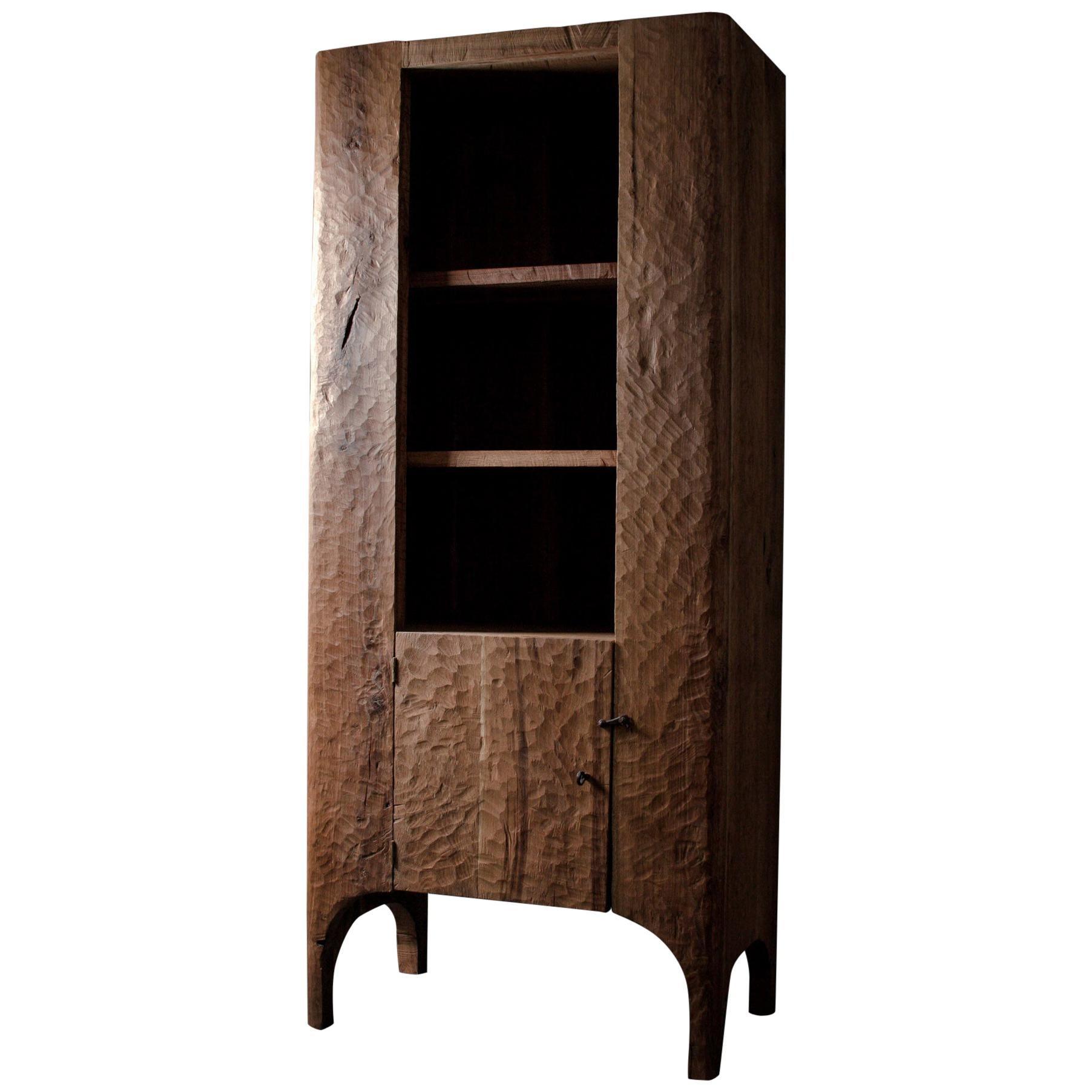 Contemporary Sculpted Cupboard/Bookcase in Solid Oak