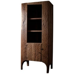Contemporary Sculpted Cupboard/Bookcase in Solid Oak