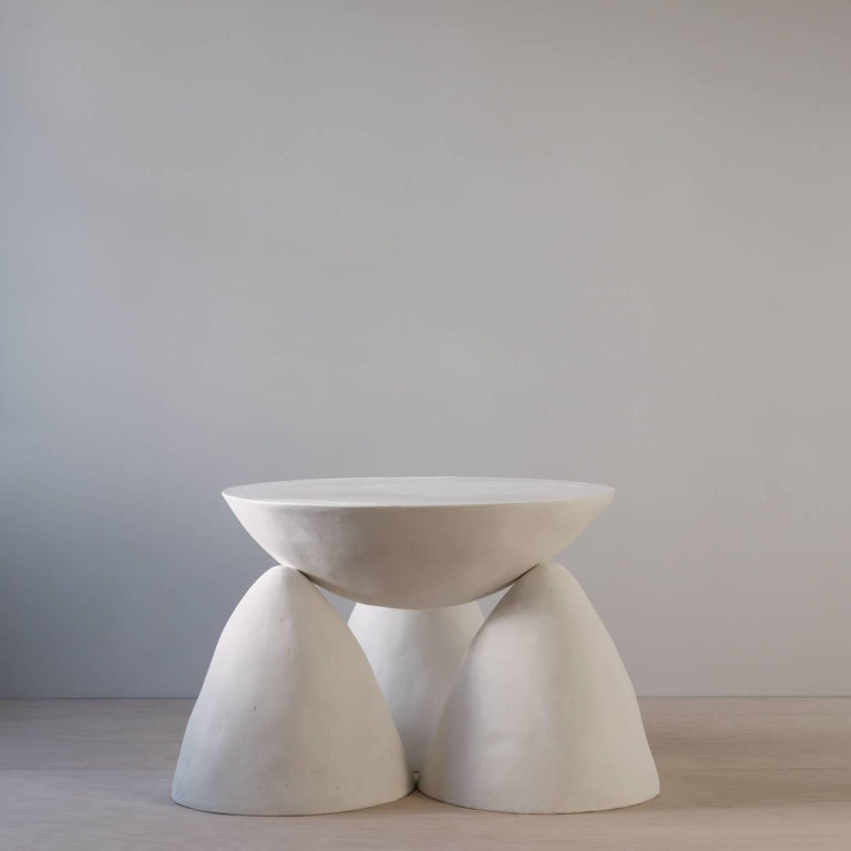 Contemporary Sculpted Plaster Four-Legged Twyla Four Side Table For Sale 4