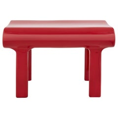 Contemporary Sculpted Red Wood Bench with Acrylic Finish
