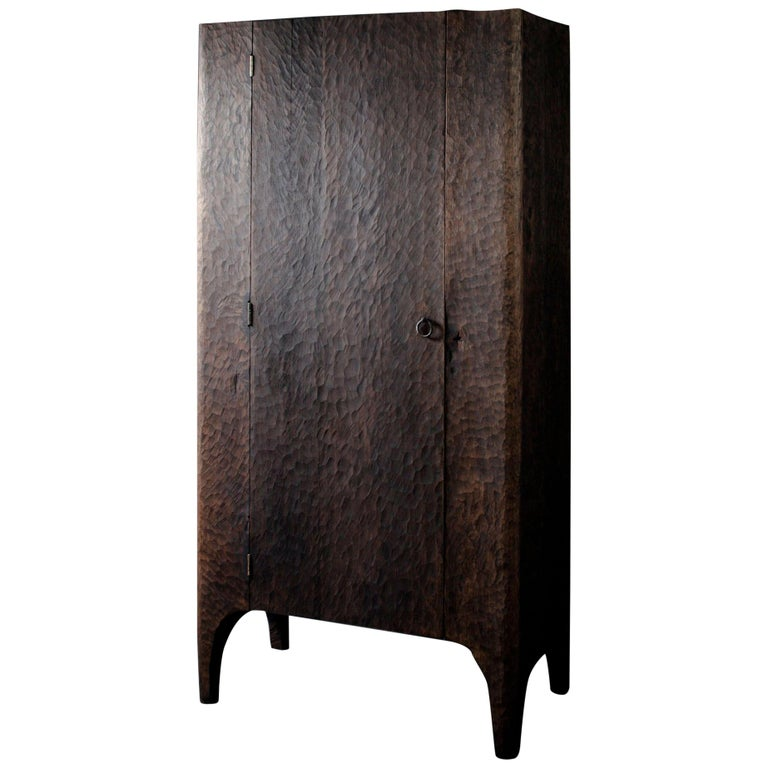 Contemporary Sculpted Wardrobe/Cupboard in Solid Oak For Sale