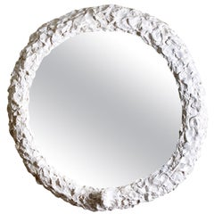 Contemporary Sculpted White Mirror by Margit Wittig