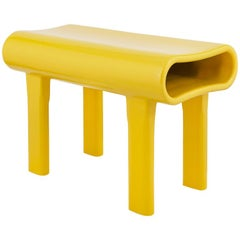 Contemporary Sculpted Yellow Wood Bench with Acrylic Finish