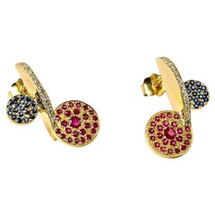 Contemporary, Sculptural 18K Yellow Gold Diamond, Blue Sapphire & Ruby Earrings