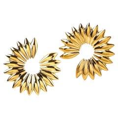 Contemporary Sculptural 18K Yellow Gold Grain Hoop Earrings, Spike Clip on Hoops