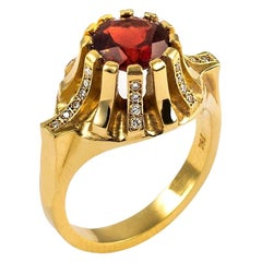 Contemporary Sculptural 18K Yellow Gold Red Garnet White Diamond Solitaire Ring