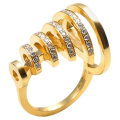 Contemporary, Sculptural 18k Yellow Gold White Diamond Ring, Modern Diamond Ring