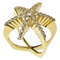 Contemporary, Sculptural 18K Yellow Gold & White Diamond Six Pointed Star Ring
