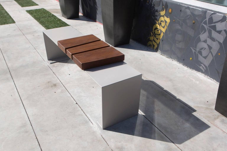 Powder-Coated Minimal Aluminum and Ipe Indoor/Outdoor Bench Seating by Vivian Carbonell  For Sale