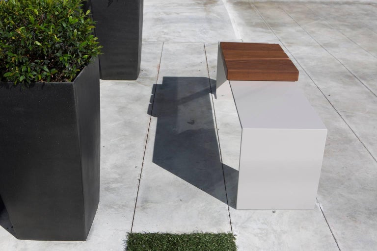 Minimal Aluminum and Ipe Indoor/Outdoor Bench Seating by Vivian Carbonell  In New Condition For Sale In Miami, FL