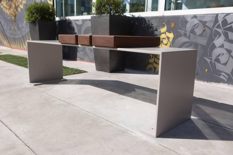 Contemporary Minimal Aluminum and Ipe Indoor/Outdoor Bench Seating by Vivian Carbonell  For Sale