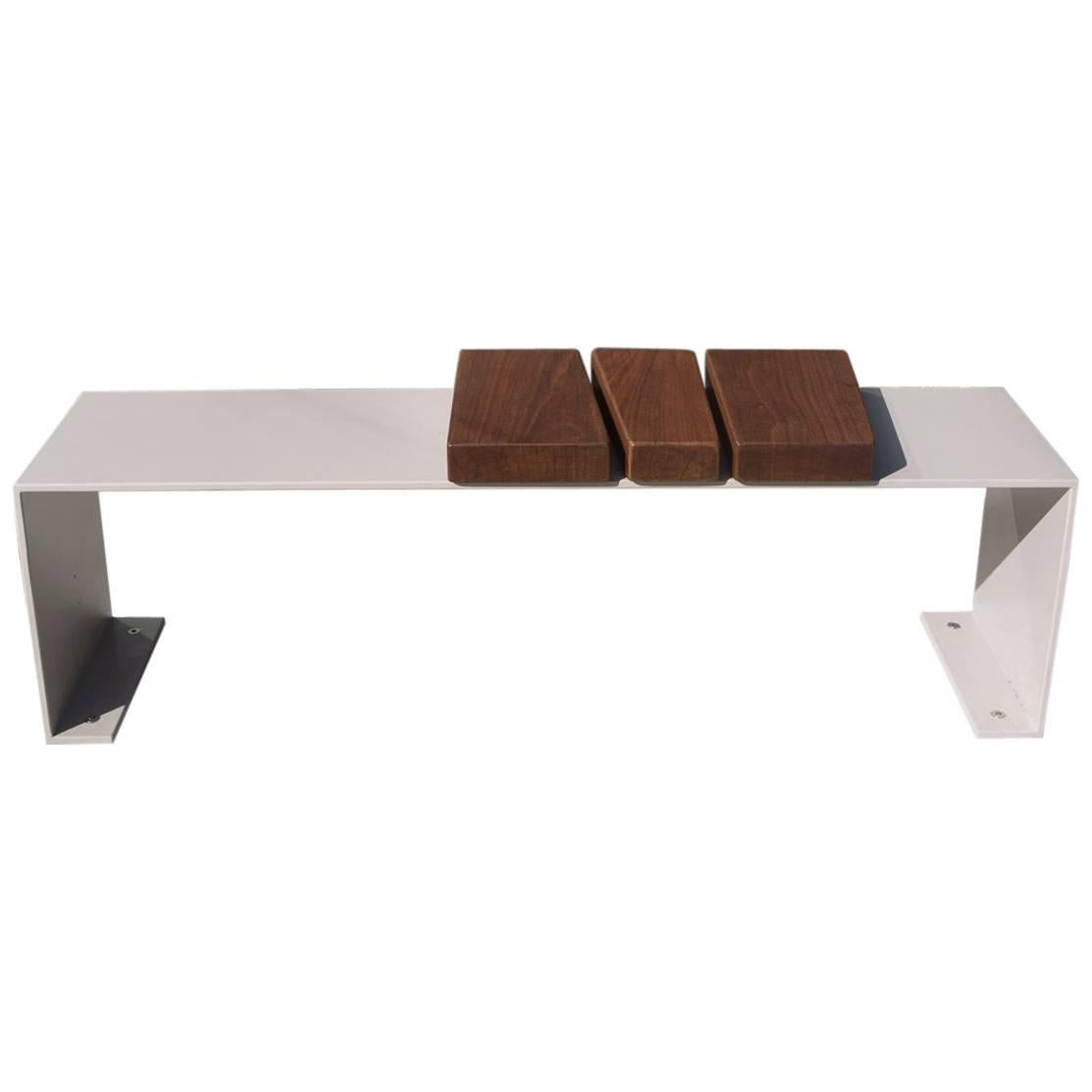 Minimal Aluminum and Ipe Indoor/Outdoor Bench Seating by Vivian Carbonell