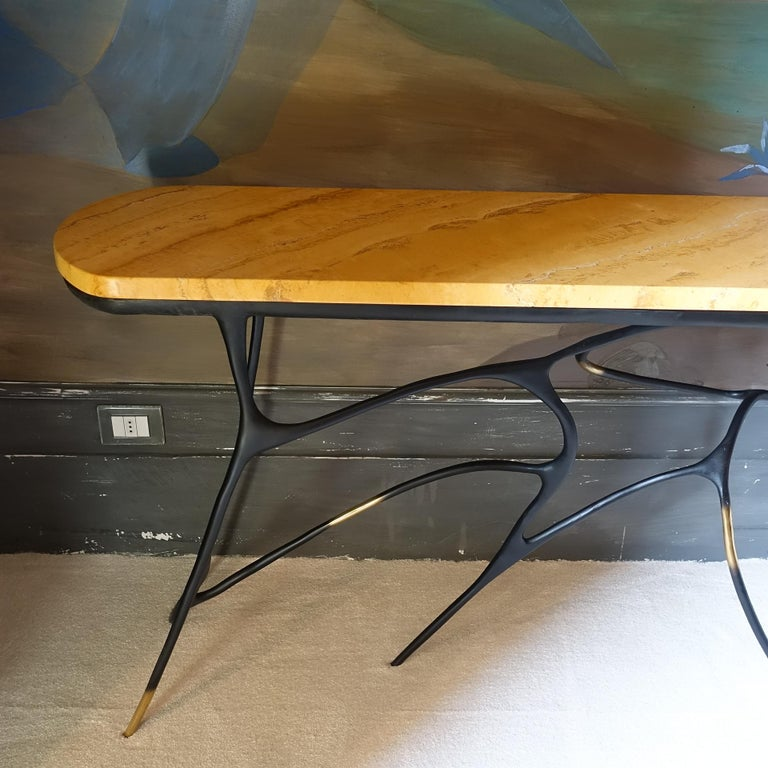 Contemporary Sculptural Black Brass Console, Turkish Yellow Marble Top In New Condition For Sale In Firenze, IT