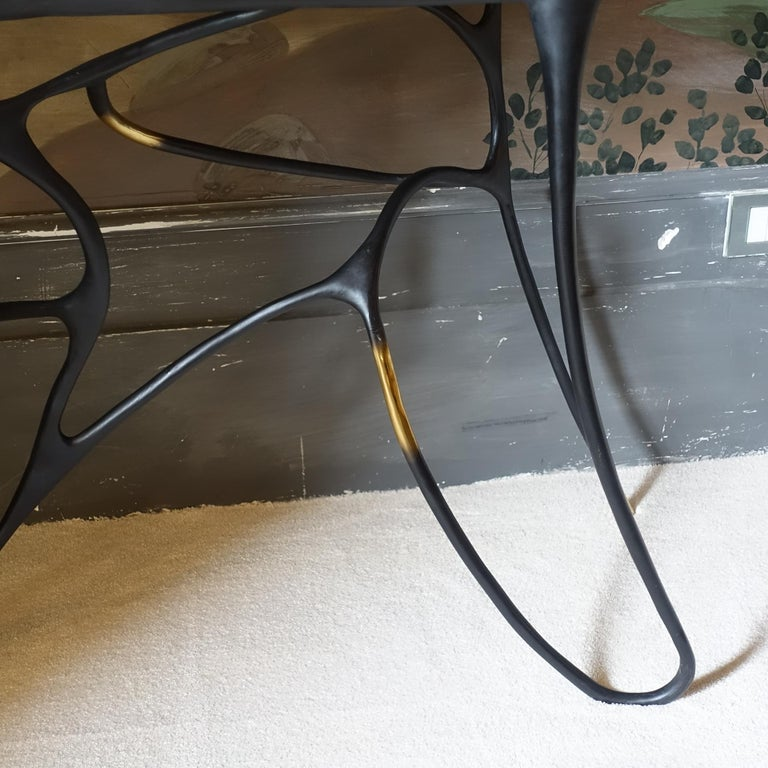Contemporary Sculptural Black Brass Console, Turkish Yellow Marble Top For Sale 1