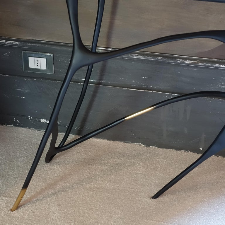 Contemporary Sculptural Black Brass Console, Turkish Yellow Marble Top For Sale 2