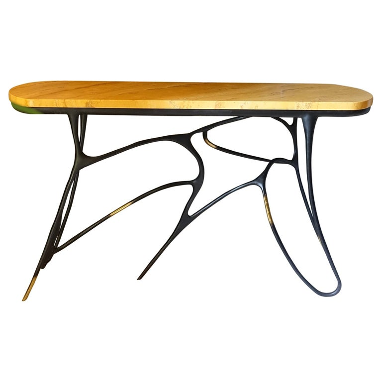 Contemporary Sculptural Black Brass Console, Turkish Yellow Marble Top For Sale