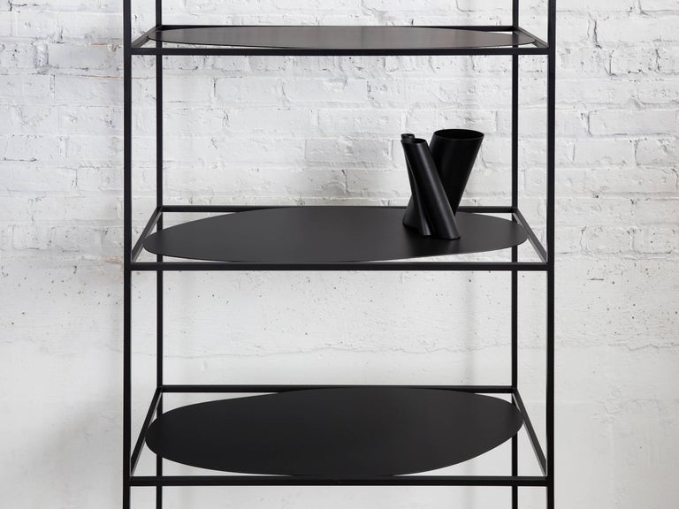 Contemporary Sculptural Black Steel Etagere Bookcase Storage Shelf Pair, USA For Sale 5