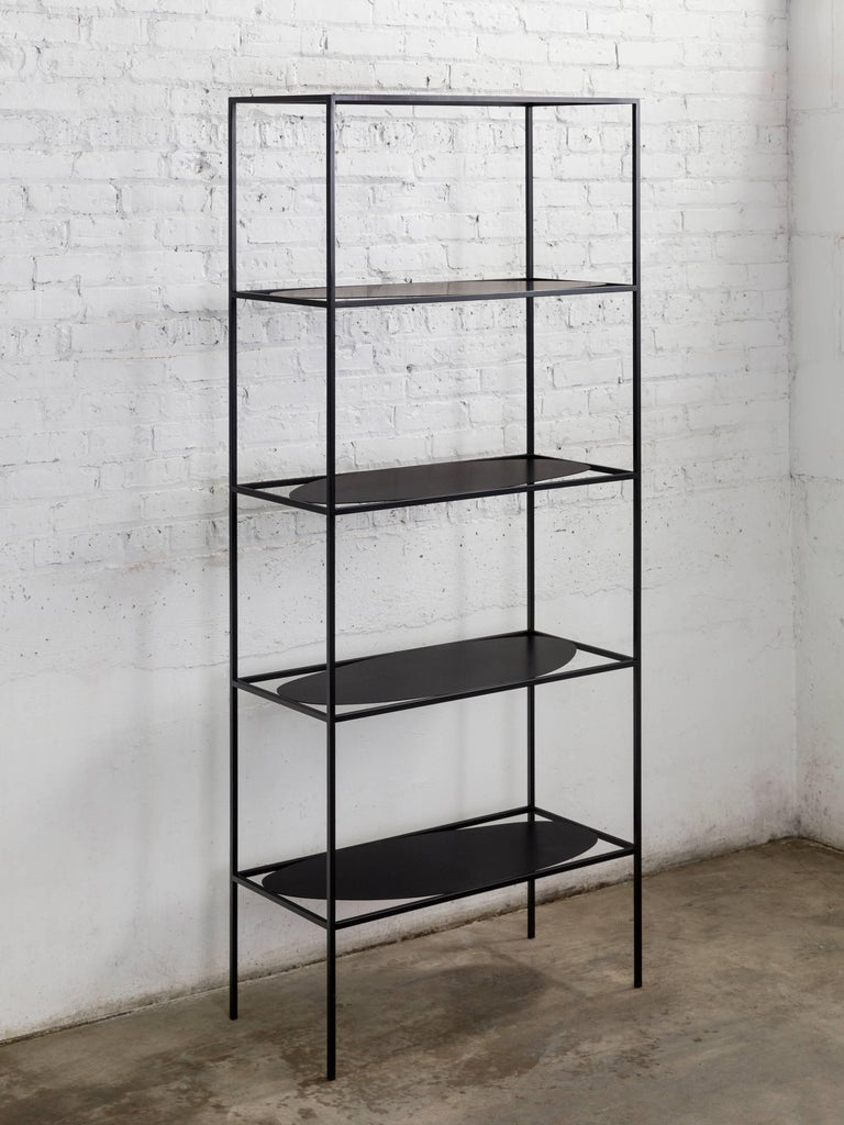 Contemporary Sculptural Black Steel Etagere Bookcase Storage Shelf Pair, USA For Sale 7