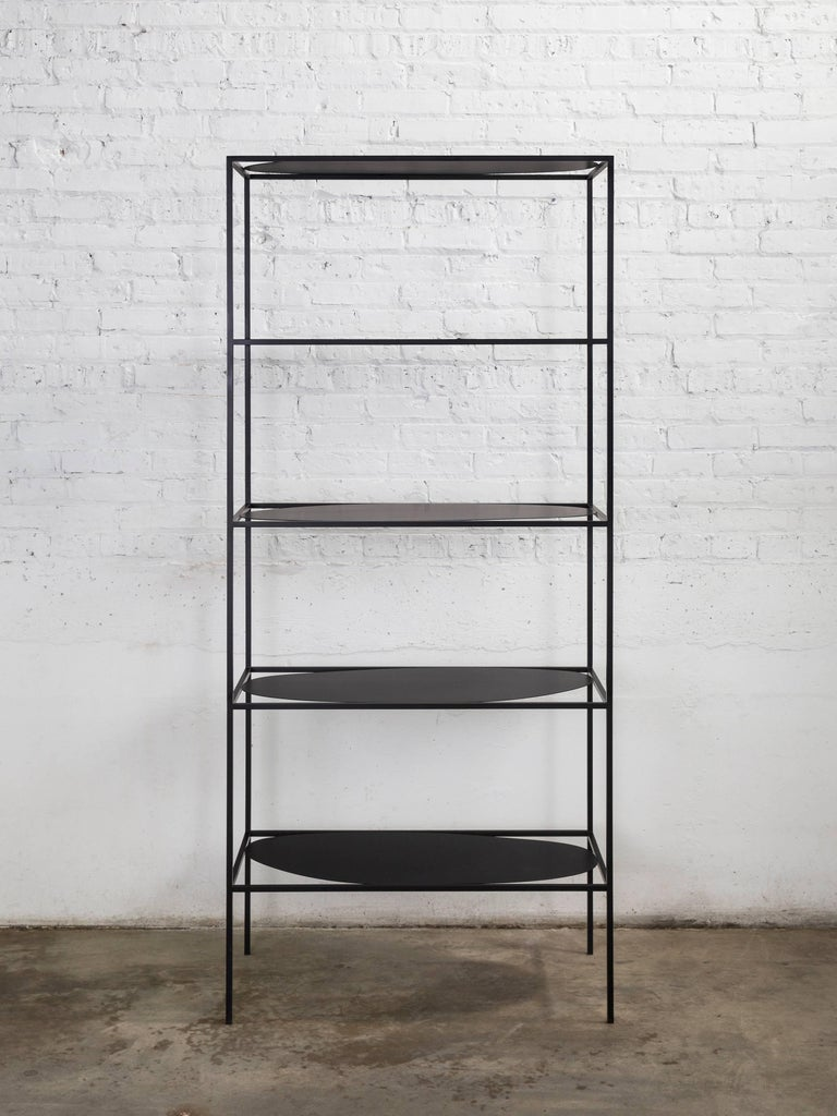 Contemporary Sculptural Black Steel Etagere Bookcase Storage Shelf Pair, USA For Sale 8