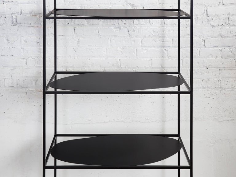 American Contemporary Sculptural Black Steel Etagere Bookcase Storage Shelf Pair, USA For Sale