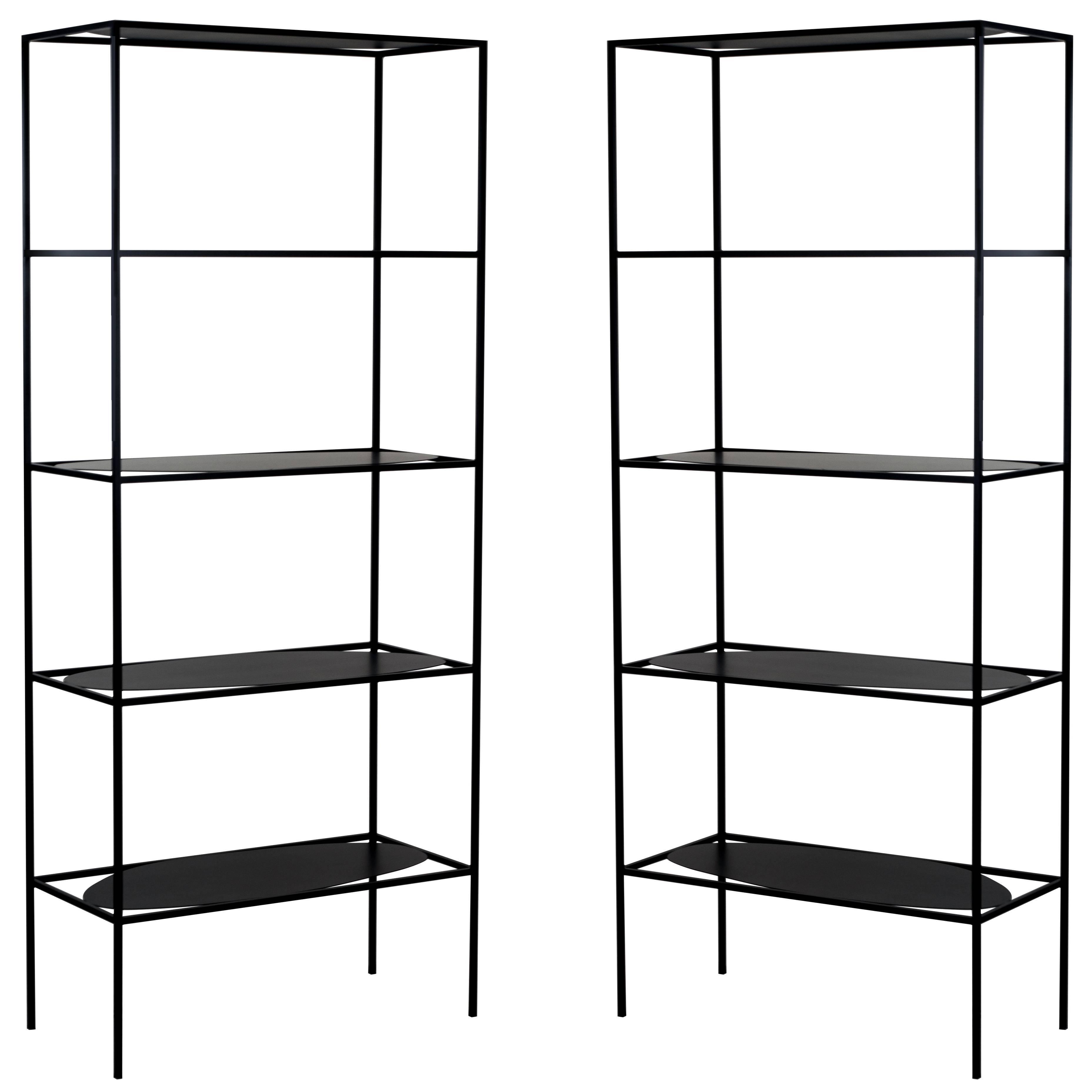 Contemporary Sculptural Black Steel Etagere Bookcase Storage Shelf Pair, USA