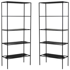 Contemporary Sculptural Black Steel Etagere Bookcase Storage Shelf Pair, USA