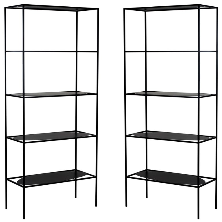 Contemporary Sculptural Black Steel Etagere Bookcase Storage Shelf Pair, USA For Sale