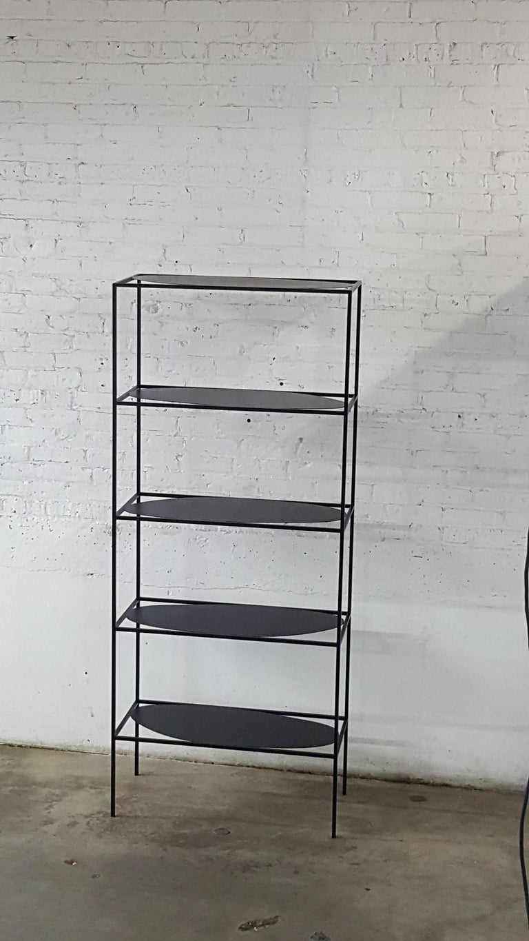 American Contemporary Sculptural Black Steel Etagere Bookcase Storage Shelf USA For Sale