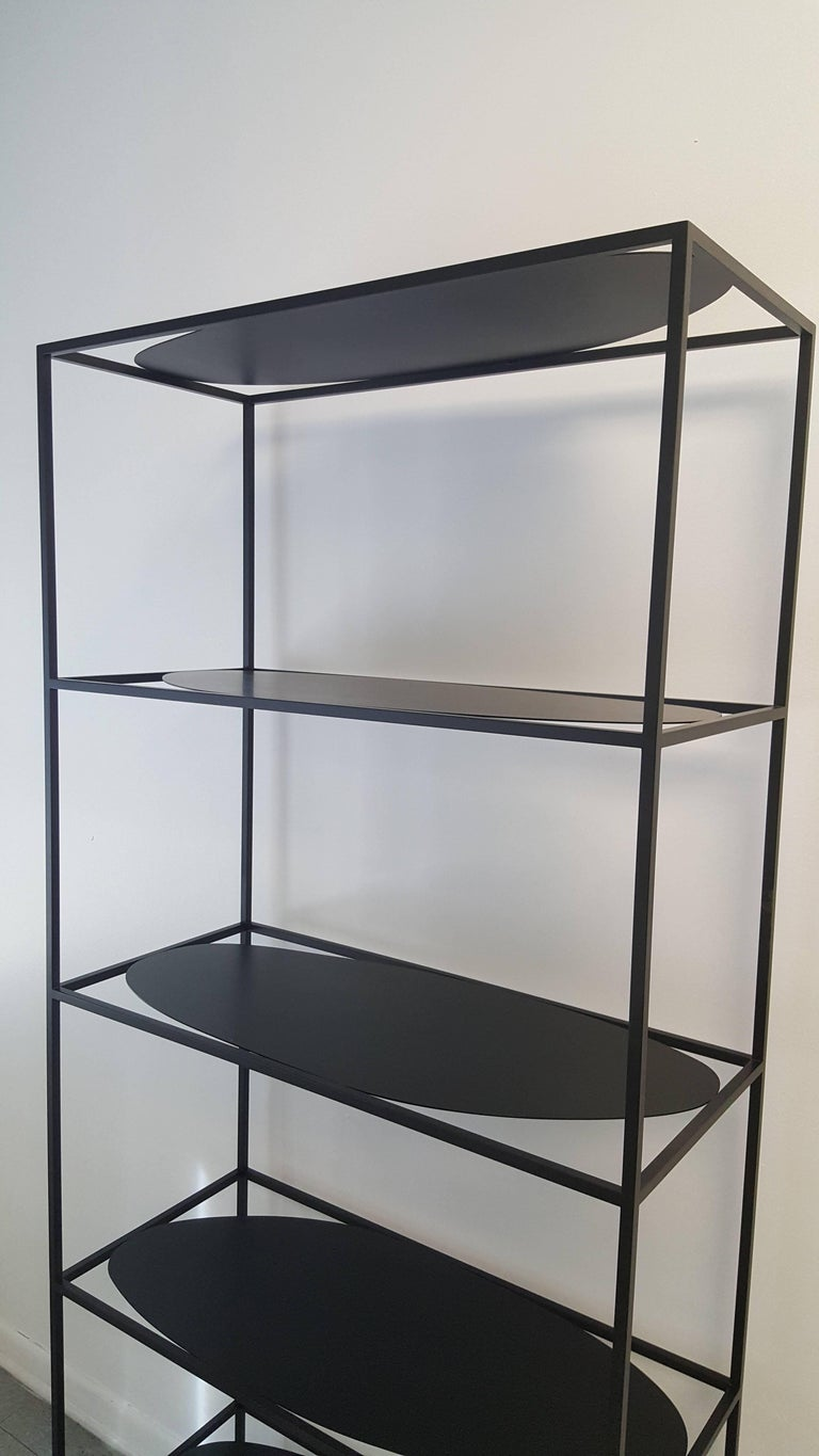 Contemporary Sculptural Black Steel Etagere Bookcase Storage Shelf USA For Sale 3
