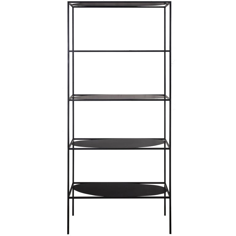 Contemporary Sculptural Black Steel Etagere Bookcase Storage Shelf USA For Sale